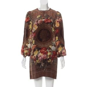 Dolce Gabbana Runway silk roman coin print dress